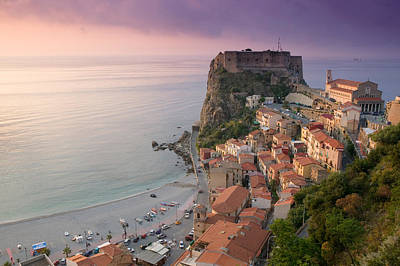 High Angle View Of A Town And A Castle Art Print by Panoramic Images