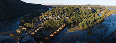 Harpers Ferry Photograph - High Angle View Of A Town, Harpers by Panoramic Images