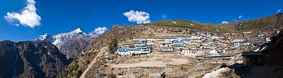 Nepal Scenes Photograph - High Angle View Of A Town On Mountain by Panoramic Images