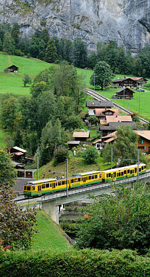 Lauterbrunnen Wall Art - Photograph - High Angle View Of A Train From Wengen by Panoramic Images
