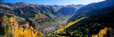 Autumn Scene Photograph - High Angle View Of A Valley, Telluride by Panoramic Images