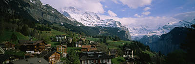 Wengen Photograph - High Angle View Of A Village by Panoramic Images