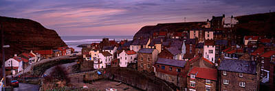 Crowd Scene Photograph - High Angle View Of A Village, Staithes by Panoramic Images