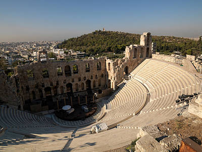 Ancient Civilization Photograph - High Angle View Of An Amphitheater by Panoramic Images