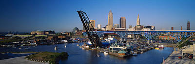 Downtown Cleveland Photograph - High Angle View Of Boats In A River by Panoramic Images