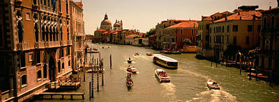Domes Of Venice Photograph - High Angle View Of Boats In Water by Panoramic Images