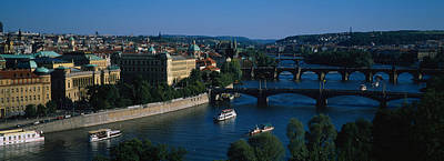 Vltava Photograph - High Angle View Of Bridges by Panoramic Images