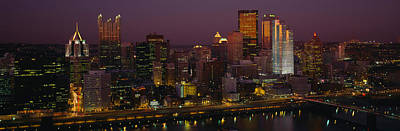 High Angle View Of Buildings Lit Print by Panoramic Images