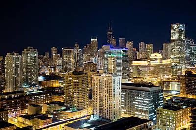 Photograph - High Angle View Of Chicago At Night by Chrisp0