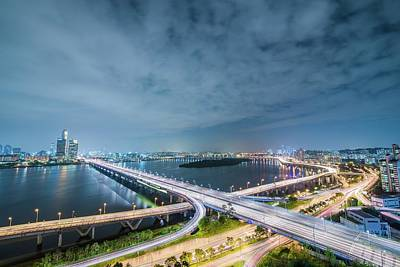 Photograph - High Angle View Of City Lit Up At Night by Gangil Gwon / Eyeem
