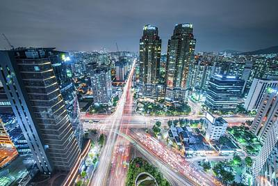 High Angle View Of Cityscape Lit Up At Art Print by Gangil Gwon / Eyeem
