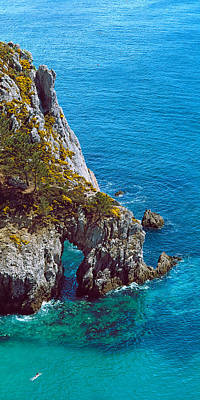 Scenic View In France Photograph - High Angle View Of Cliff At The Coast by Panoramic Images