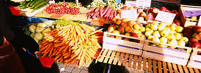 Vegetable Stand Photograph - High Angle View Of Fruits by Panoramic Images