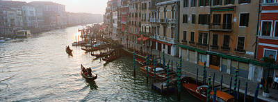 High Angle View Of Gondolas In A Canal Art Print by Panoramic Images