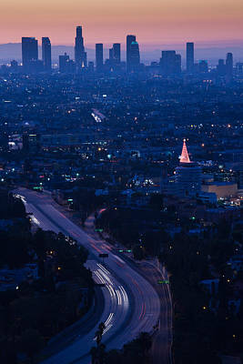 Hollywood Bowl Photograph - High Angle View Of Highway 101 At Dawn by Panoramic Images