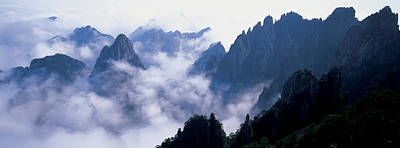 Anhui Photograph - High Angle View Of Misty Mountains by Panoramic Images