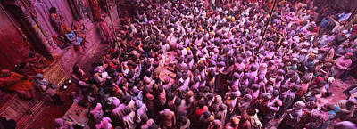 Festivals Of India Photograph - High Angle View Of People Celebrating by Panoramic Images