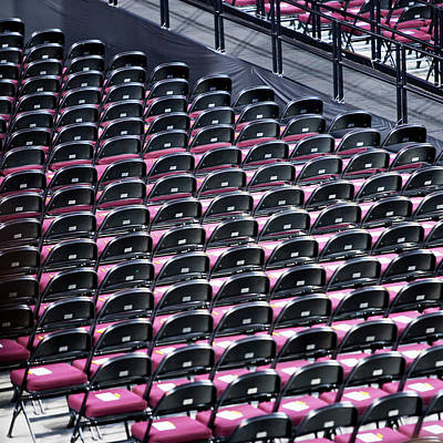 Folding Chairs Photograph - High Angle View Of Rows Of Empty by Ron Koeberer