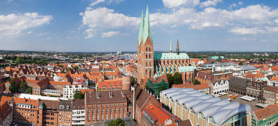 Lubeck Photograph - High Angle View Of The St. Marys by Panoramic Images