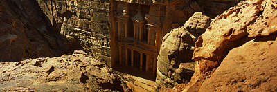 Treasury Photograph - High Angle View Of The Treasury, Wadi by Panoramic Images