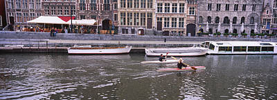 Belgium Photograph - High Angle View Of Two People Kayaking by Panoramic Images