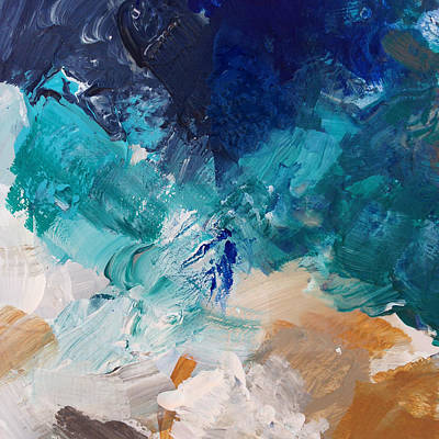 Blue Abstracts Mixed Media - High As A Mountain- Contemporary Abstract Painting by Linda Woods