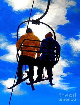 Skiing Fine Art Painting - High  Aspiration - Fine Art Impressionist Serenity Landscape by Shasta Eone