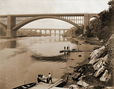 Harlem Drawing - High Bridge & Washington Bridge, Harlem River by Litz Collection