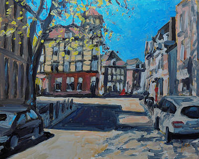 Impressionist Painting - High Bridge Street Maastricht by Nop Briex