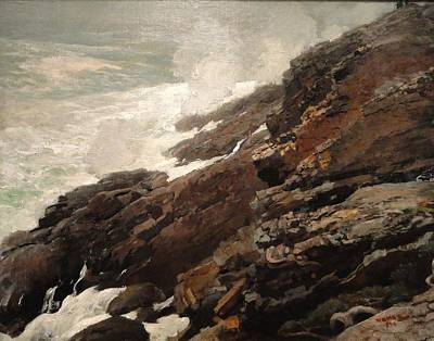 High Cliff Coast Of Maine 1894 Art Print by Philip Ralley