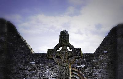 Photograph - High Cross And Cathedral Clonmacnoise by Nadalyn Larsen