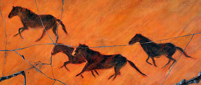 Mural Painting - High Desert Horses - Study No. 1 by Steve Bogdanoff