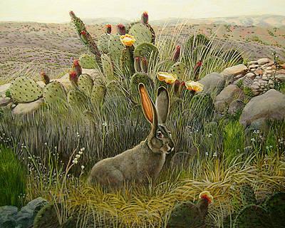 Charles Wallis Painting - High Desert Jack Rabbit by Charles Wallis