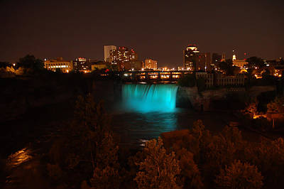 Photograph - High Falls At Night Blue by Aimee L Maher Photography and Art Visit ALMGallerydotcom