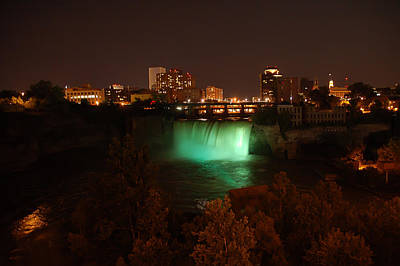Photograph - High Falls At Night Green  by Aimee L Maher Photography and Art Visit ALMGallerydotcom