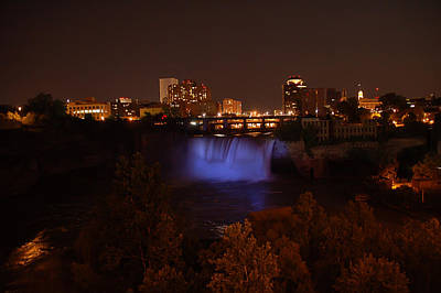 Photograph - High Falls At Night Purple  by Aimee L Maher ALM GALLERY