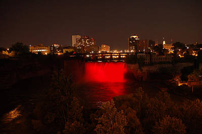Photograph - High Falls At Night Red by Aimee L Maher ALM GALLERY
