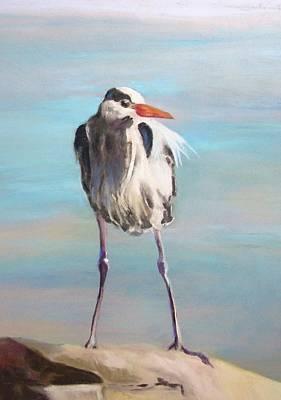 High Falls Heron Art Print by Debbie Anderson