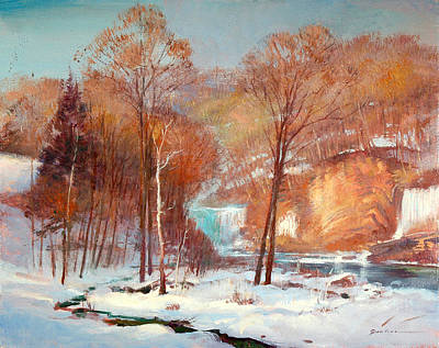 Painting - High Falls New Snow by Keith Gunderson