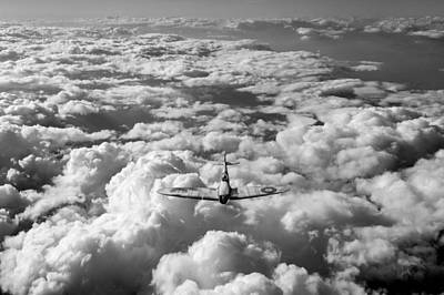 Photograph - High Flight Spitfire Black And White Version by Gary Eason