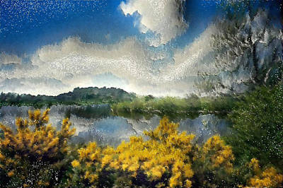 Wet On Wet Digital Art - High Gloss Landscape by Mario Carini