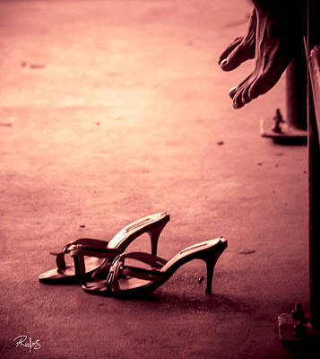 High Heel Shoes Waiting On The Pavement Art Print by Allan Rufus