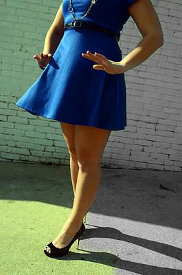 High Heels And A Blue Skirt Art Print