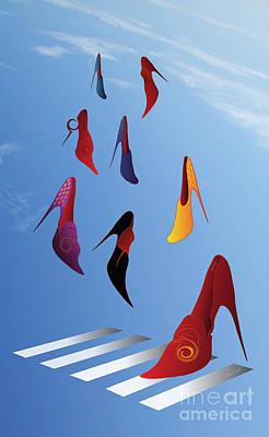 Kim Digital Art - High Heels Rain M1 by Johannes Murat