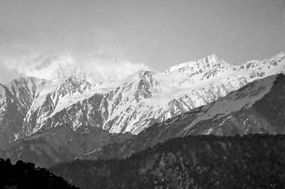 High Himalayas - Black And White Art Print by Kim Bemis