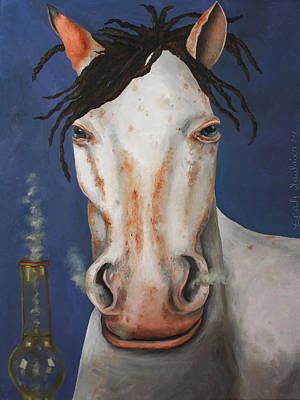 Mustang Painting - High Horse by Leah Saulnier The Painting Maniac