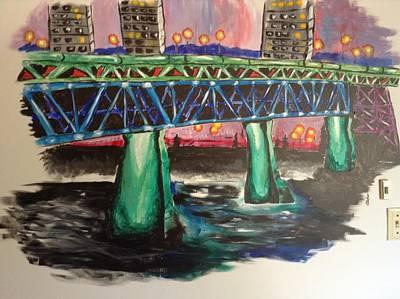 Streetlight Mixed Media - High Level Bridge by Shelby Rawlusyk