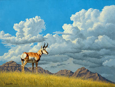 Cloudscape Painting - High Meadow - Pronghorn by Paul Krapf