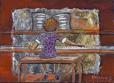 The Music Lesson Painting - High Note by Maria Valladarez