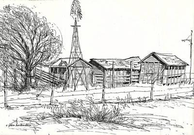 High Plains Barns Art Print by Joan Hartenstein